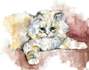 "Kitten Painting - Print from Original Watercolor Painting, ""The Colorful Cat"", Pet Decor, Watercolor Cat, Cat Print"