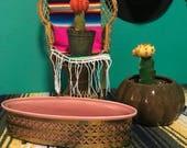 Vintage Wilhite of California Brass Trimmer Ceramic Planter