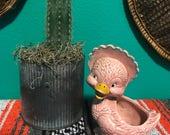 Vintage Kitsch Pink Duck Planter