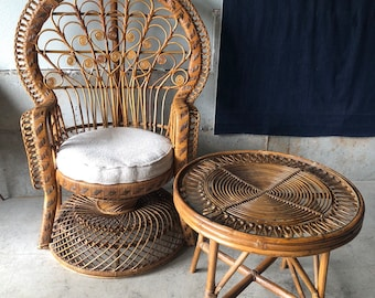 Sold* Do Not Buy*Vintage Mid Century 1970s Wicker And Rattan Peacock Chair  Scroll Chair And Side Table