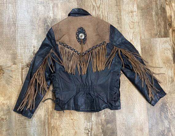 Vintage Women's Black Leather Fringed Jacket XS-S