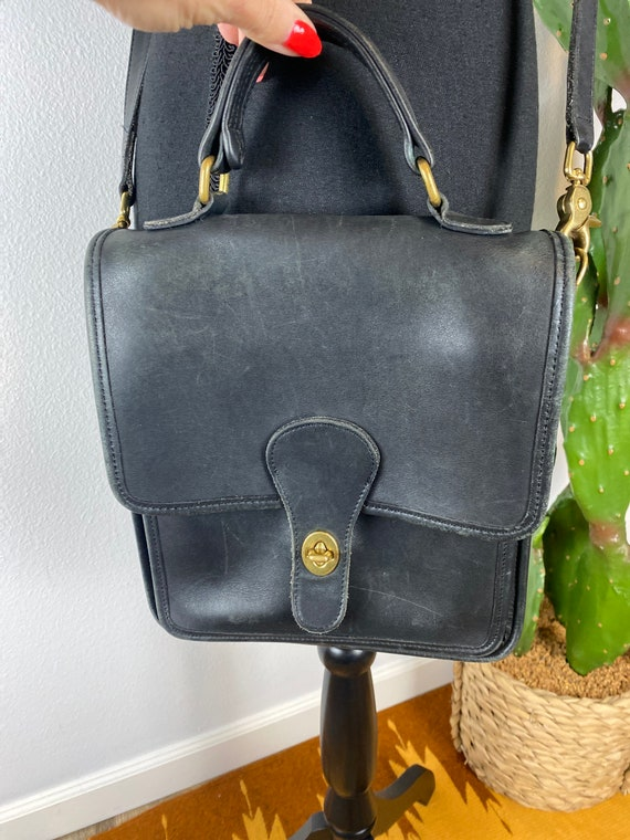 Vintage Black Leather COACH Crossbody Bag