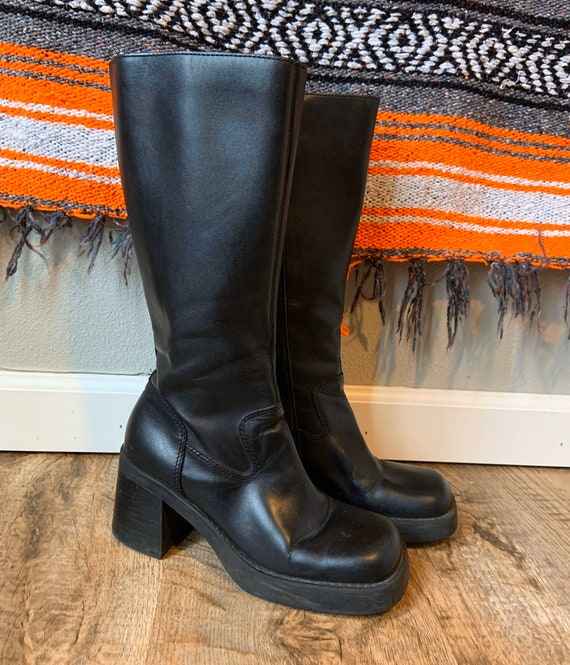 Vintage 90s Black Leather Chunky Boots Knee High C