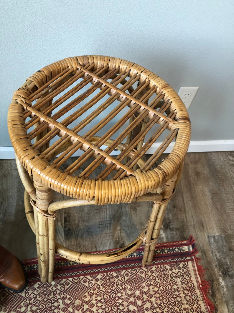 Vintage Mid Century Rattan and Bamboo Stool