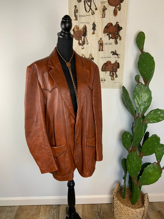 Vintage 1970s Cabretta Glove Leather Western Jacke