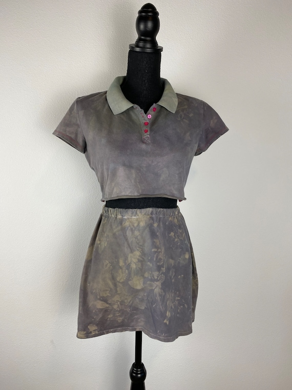 Reworked Overdyed Crop Top and Skirt Set
