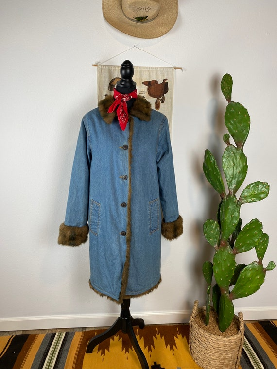 Vintage Penny Lane Style Jacket Long Denim Duster