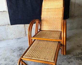 Sold*Do Not Buy*Vintage Mid Century Rattan and Wicker Pretzel Lounge Chair
