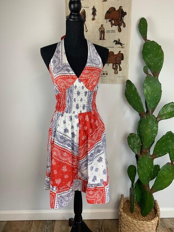 Vintage 1970s Bandana Print Halter Dress