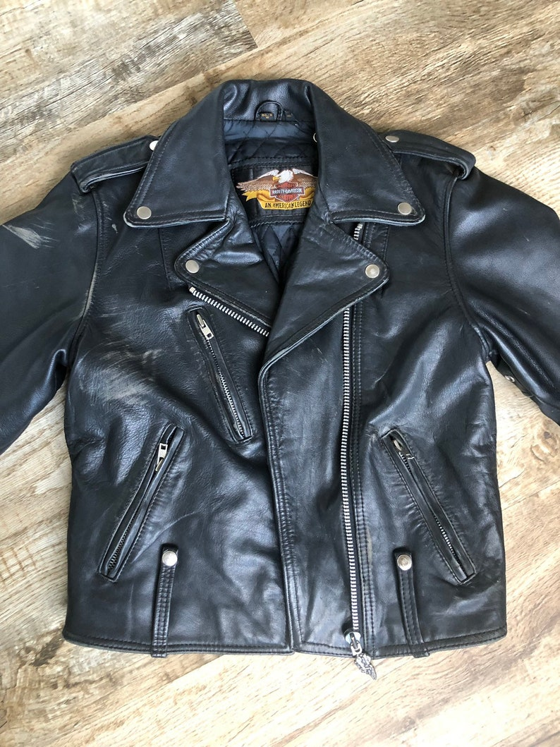 f58b381b15d Vintage Women's Harley Davidson Black Leather Moto Jacket 34/6 Medium