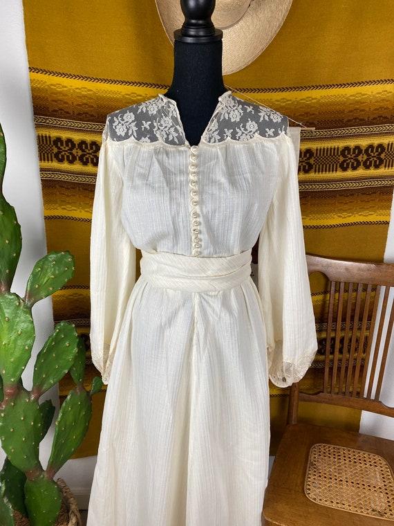 "Vintage 1970s ""Gunne Sax"" Style Prairie Dress / W… - image 2"