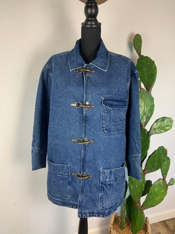Vintage 1980s-90s Denim Chore Coat Barn Jacket