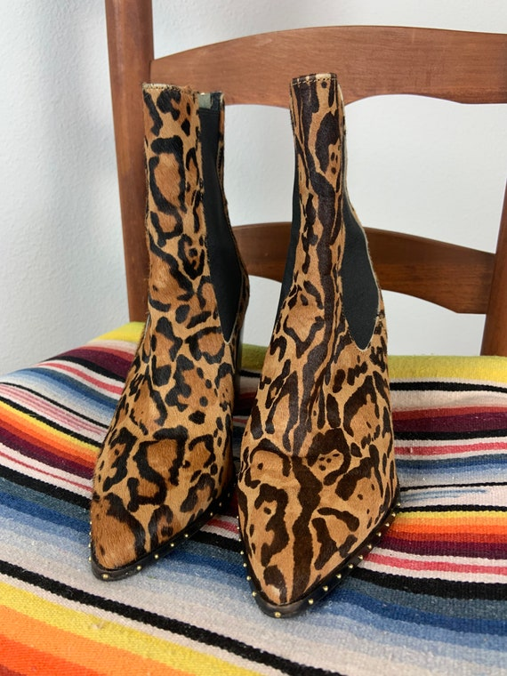 Vintage Topshop Leopard Booties Chunky Heeled Boot