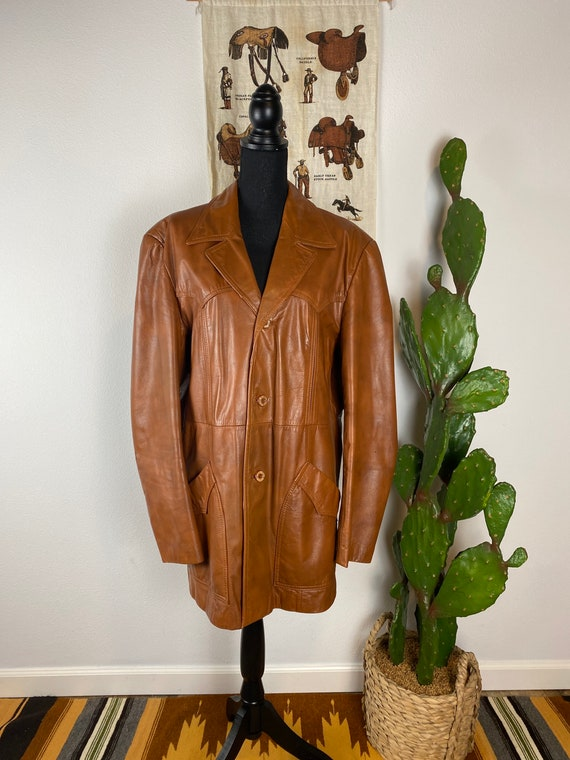 Vintage 1970s Leather Blazer Style Western Jacket