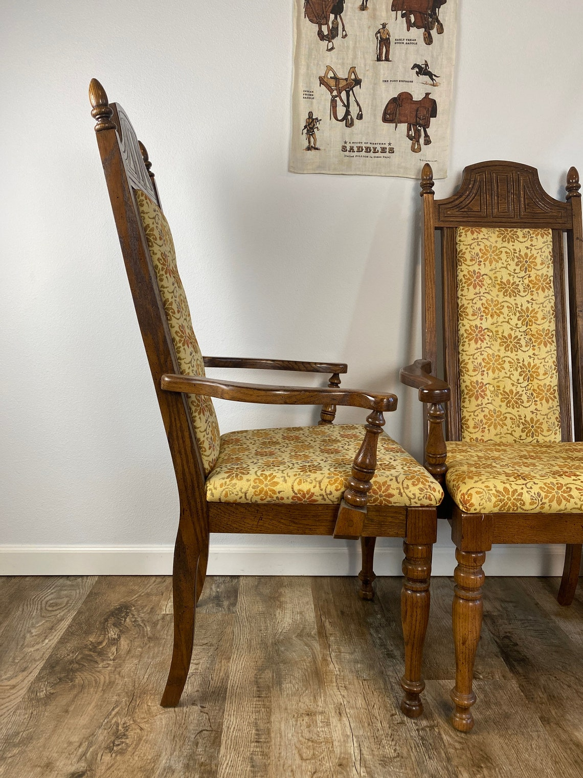 """Set of 2 Vintage 1970s """"Throne"""" Style Arm Chairs"""