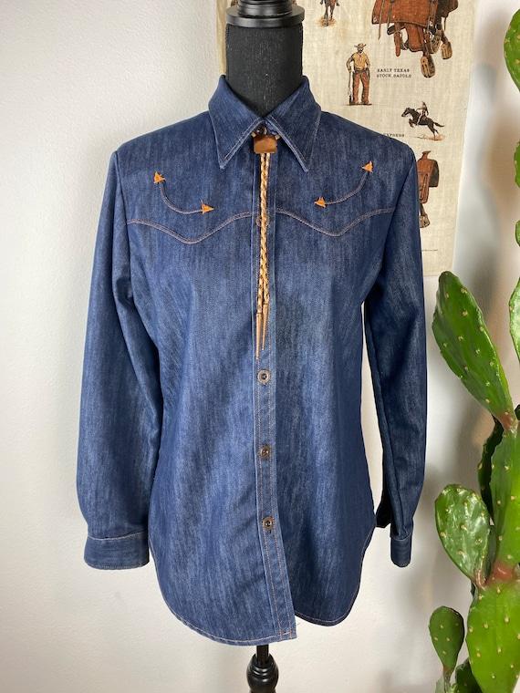 Vintage Denim Western Shirt Women's Medium