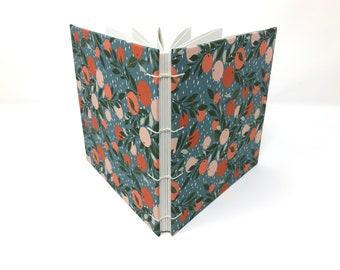 "Sketchbook Journal, 6.5"" x 6.5"" Square, Mixed Media Sketchbook, Travelers Notebook, Watercolor Journal, Guest book, Mix Media Paper CORALINE"