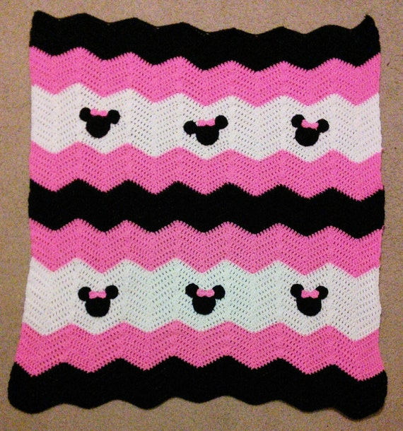 Pink Black and White Minnie Mickey Mouse Crochet Baby Afghan | Etsy