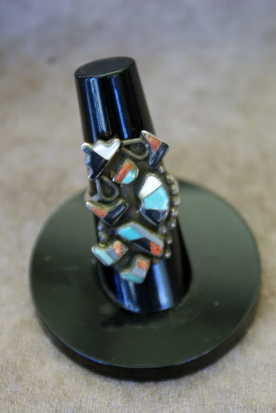 Vintage Sterling Silver Zuni Inlay Rainbow Dancer