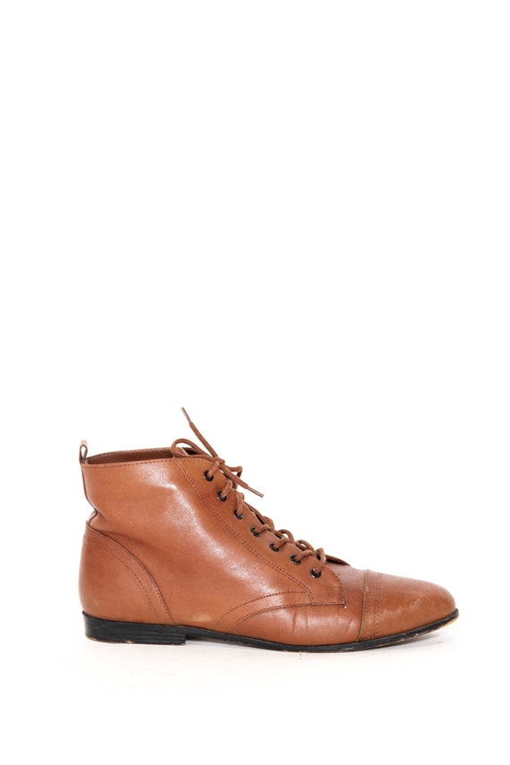 Vintage 80s 90s Brown Leather Calico Ankle Lace up