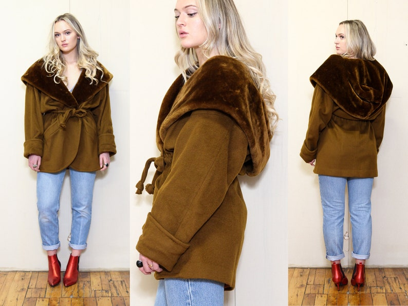 Size L Vintage 80s INCREDIBLE Chic STATEMENT Piece Oversized Brown Slouchy Draped Large HOODED Faux Fur Belted Winter Wool Coat Jacket