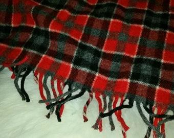Vintage Red Plaid Wool Stadium Blanket and Bag Pillow 7d6c096c9