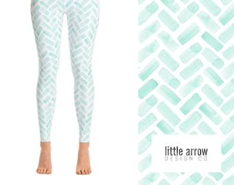 d7cfb285c2976 Watercolor Herringbone Yoga Leggings (aqua)
