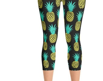 f90b4797309f91 Pineapple Women's Yoga Capri Leggings