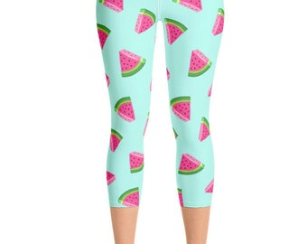 f39737d28f Pink Watermelon on Teal Women's Yoga Capri Leggings