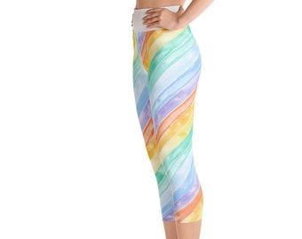 4f7d9875e70b9 Watercolor Rainbow Yoga Capri Leggings