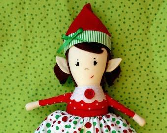 Doll Pattern - Christmas Elf Girl Doll PDF Sewing Pattern