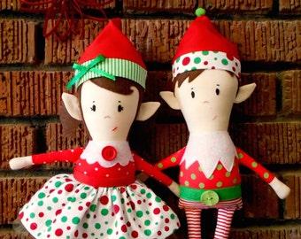 Doll Pattern - Christmas Elf Girl and Boy Dolls PDF Sewing Pattern