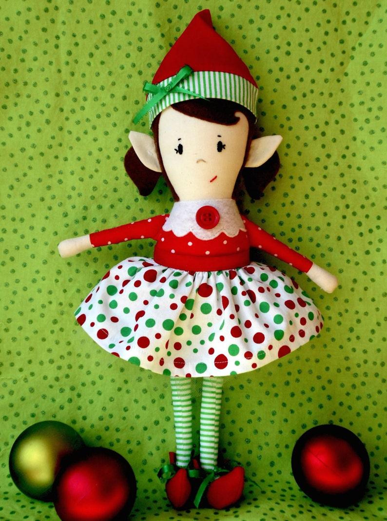 Doll Pattern  Christmas Elf Girl Doll PDF Sewing Pattern image 0