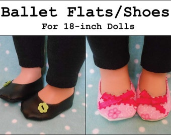 PDF Pattern: Ballet Flats/Shoes for 18-inch Doll like American Girl®