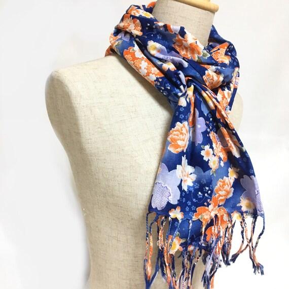 Bufanda de algodón azul bufanda larga hecho en Japón | Etsy