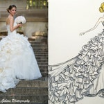 Custom Illustration - Dress Drawing - Bride - Fashion Sketch - Wedding Gift - Wedding Dress