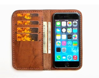 """Handmade iPhone 7, iPhone 6 and 6S (4.7""""), iPhone SE, 5, 5S Wallet Case , iPhone Case , iPhone Leather Case - Free Monogramming"""