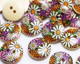 e8c912214 Chrysanthemum Print Wooden Button, Floral Button, Blouse Shirt Button,  Children Baby Wood Buttons, Two Holes Sew On Button, Decoration,15mm