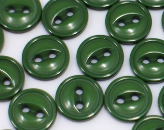 12 x Bottle Green Ring Edge Buttons in Sizes; 23mm 20mm 18mm 16mm Dark Green