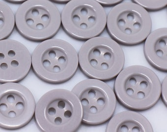 50 Round Black 2-Hole 18mm Resin Buttons