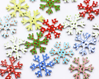 Buttons 100pcs Christmas Holiday Wooden Collection Snowflakes Buttons Snowflakes Embellishments 18mm Creative Decoration