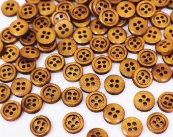 Blouse Shirt Button Raised Edge Button 10mm Four Holes Sewing Button Tiny Brown Wooden Button Small Natural Wood Buttons