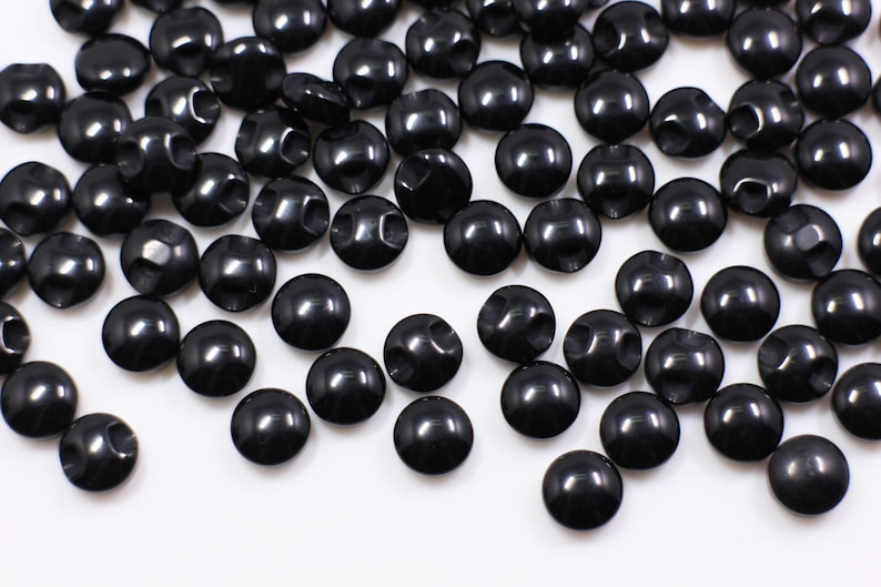 Black Shank Buttons Dolls Animal Eyes Glossy Round Bean Shaped Blouse 9mm 11mm