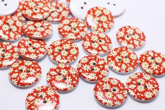 Large Rose Wooden Button Four Holes Purple Red Floral Flower Flat 30mm 20pcs