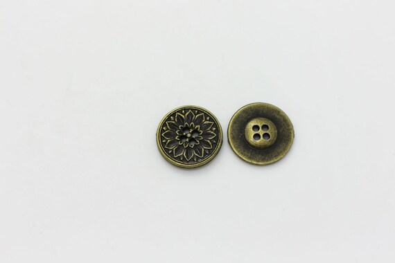 Small Flower Filigree Wood Button Brown BOHO Ethnic Chinese Wooden 15mm 20pcs