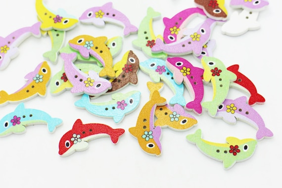 Fish Wooden Button Sewing Small Sea Animal Children Baby Wood DIY Buttons 20pcs