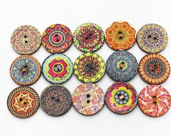 BOHO Wooden Button, Bohemian Pattern Wood Buttons Aztec Pattern, BOHO Chic Buttons, Tribal Button, Floral Button, Boho Patterns Buttons