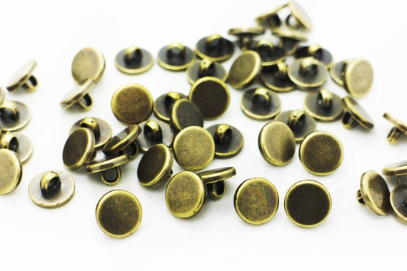 Golden Shank Button Flat Round Simple Gold Shirt Blouse Vintage Style 11mm 20pcs