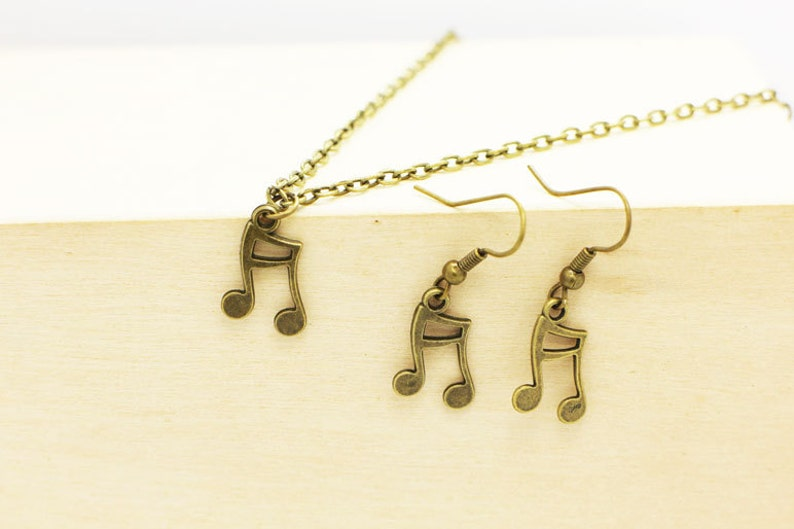 Antique Bronze Charm Song Accessories Musical Symbol Necklace Jewelries Set Bronze Small Musical Notes Dangling Earrings Music,Hippie