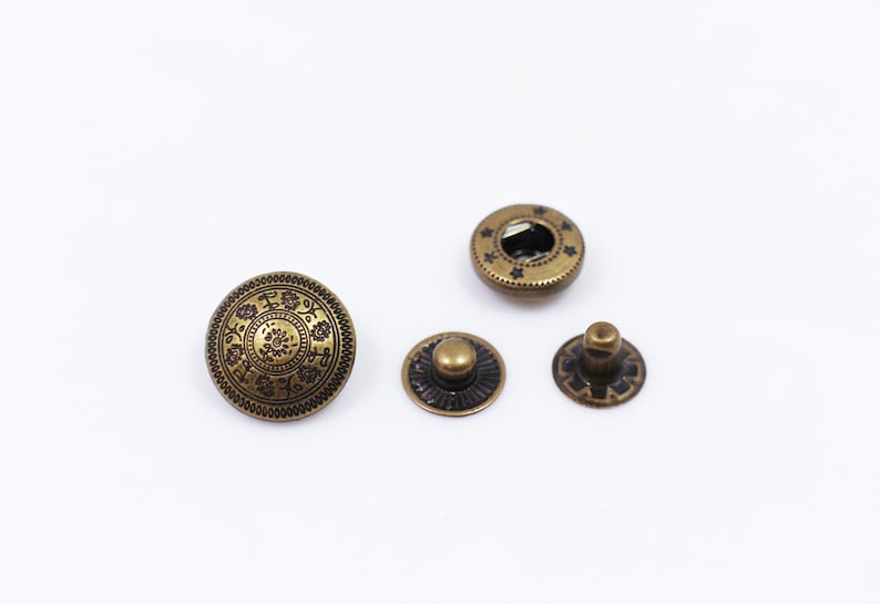 Flower Metal Snap Buttons, Vintage Style Floral Snaps, Antique Bronze Color  Press Stud, Snap Fastener, Leather Craft Closure,Model 633, 15mm